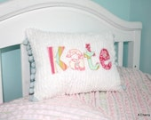 Personalized Applique Chenille Mini Throw Pillow. Perfect for baby or big girl room, Great Gift