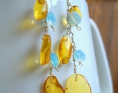 Donatella dangling amber earrings with vintage glass and sterling silver