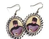 Batman Cameo Earrings - Adam West - Silver Plated Settings