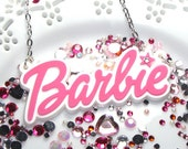 Barbie Jumbo layered word statement necklace on 24 inch silver plated chain