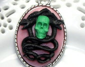 """Cameo Necklace - Danse of Death - One of a Kind - Silver plated necklace 24"""""""