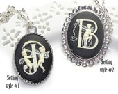 Initial Letter Cameo Necklace - - choose Letter and Settting - Silver plated necklace 24""