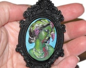 Hand Painted OOAK Cameo on Ball Chain Necklace (or Brooch) - Zombie Goddess