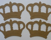 "ROYAL CROWNS - King Queen  Vintage Raw Bare Unfinished Chipboard Die Cut 3"" x 4 1/4"""
