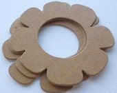 "Scalloped Flower - Chipboard Die Cuts - Bare Diecut Scallop Flowers - 3  - 1/4"" inch"