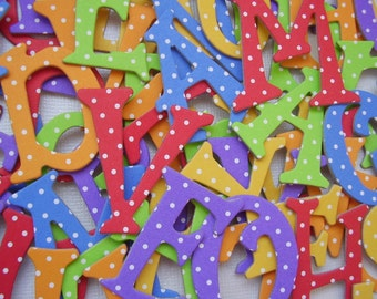 Primary Polka Dot Alphabets  - Chipboard Letters - Scrapbook Die Cuts  - 1.5 inch Tall
