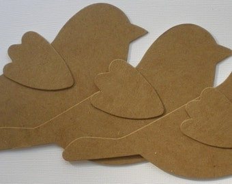 3 BiRD w/ WiNG  Bare Unfinished Chipboard Die Cuts