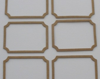 6 Small BOOKPLATE Frames Raw CHiPBOARD Bare Die Cuts