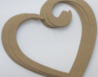 3 OPEN HEART SWiRL Raw CHiPBOARD Bare Die Cuts