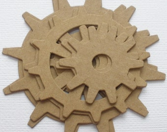 WHEELS GEARS GADGETS -  Raw CHiPBOARD Bare Die Cuts - 3 graduated sizes