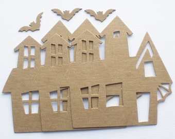 HAUNTED HOUSE - Bare Unfinished CHiPBOARD Die Cuts - Halloween Mansion