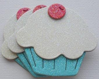 6 WHiTE & BLUE Glitter Sugar Coated Cupcakes - Chipboard Die Cuts