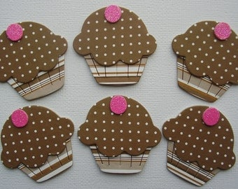 6 CHOCOLATE DOTS - Yummy Cupcake - Chipboard Die Cuts