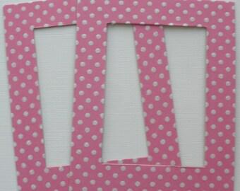 3 Fairytale Pink -  Rectangle Frames - Glittery Polka Dot Chipboard Embellishments