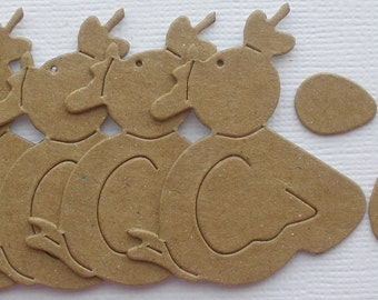 6 CHiCKEN and EGGS -  Raw CHiPBOARD Farm Animals Bare Die Cuts