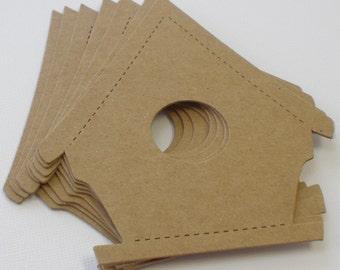 4 BiRD HOUSE - Raw Bare Birds Homes Unfinished Chipboard Die Cut