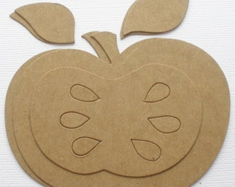 APPLE w/ Leaves and Seeds - Chipboard Die Cut - Alterable Craft Shapes
