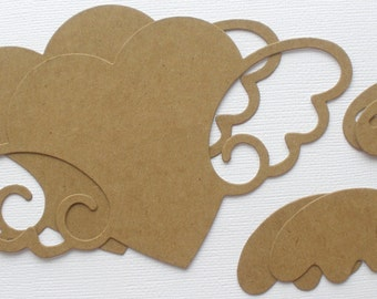 """HEART with WINGS - Chipboard Die Cuts - Bare Unfinished Diecut Hearts - 3.5"""" x 6 1/4"""""""