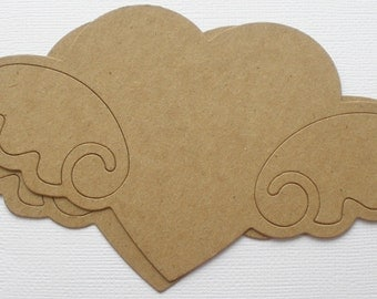 3 HEART with WINGS -  Raw CHiPBOARD Unfinished Bare Die Cuts