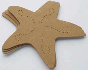 4 STARFISH - Summer Seashore Raw CHiPBOARD Unfinished Bare Die Cuts
