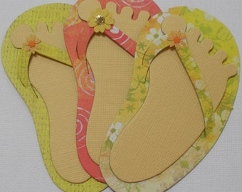 3 TROPiCAL FLIP FLOPS and FEET - Summer - CHiPBOARD Embellished Die Cuts