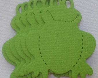6  GREEN FROGS - Animal Frog Toad - CHiPBOARD Embellished Die Cuts