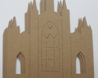 3 CASTLE - Cathedral Church  Vintage Raw Bare Unfinished Chipboard Die Cut