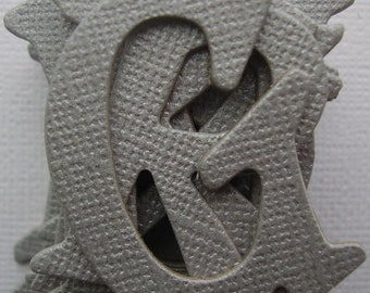 """GRAY Shimmer - Grey Chipboard Alphabet Letters Die cuts - 1.5"""" tall"""
