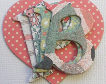 O L I V I A  Designs - Chipboard Alphabets - 52 Letters with Heart and Tag  Die Cuts - 1.5""