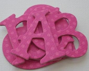 "FRUiT PUNCH PiNK - Bo Bunny Polka Dot Chipboard Letters & Heart Die Cuts  - 1.5"""