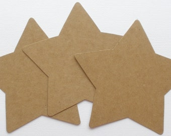 Large STARS - Raw CHiPBOARD Bare Die Cuts - 4.5""