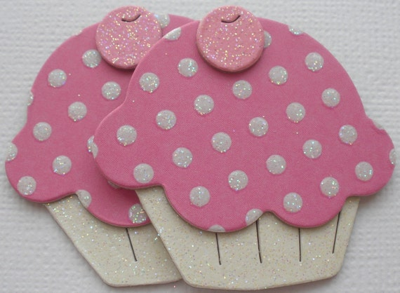 6 PRiNCESS Polka Dot - Yummy Cupcake - Chipboard Die Cuts