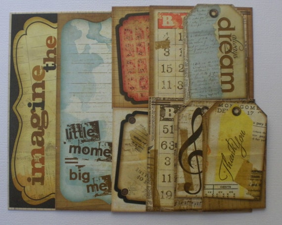 ET CETRA - ViNTAGE JOURNAL KiT - Titles - Journaling Notes - Quotes - Picture Cards CHiPBOARD Embellishment Kit Die Cuts