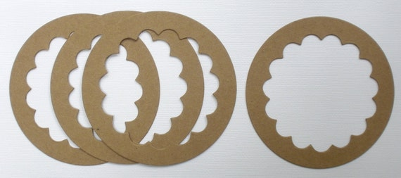 4 FRAME CIRCLE SCALLOP - Raw CHiPBOARD Bare Die Cuts