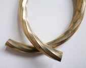 2 pieces of vintage old stock brass tube with swirl texture curve large 75mm