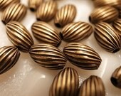 25 Vintage brass beads small size 10 mm  crimp swirl texture with hole through with new antique plating