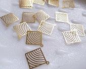 25 newly made raw brass stamping thin metal geometric pop art charm square shape gold tone  swirl lines
