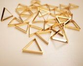 10 pieces of newly made cut raw brass thick tube outline charm in small triangle 16x2.5 mm with new plating in gold tone