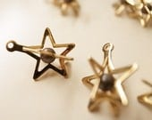 10  vintage raw brass star shape caged beads charm with metal ball bead inside