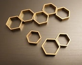 15 pieces of newly made small cut raw brass tube outline charm in hexagon shape geometric 10x9.5x2.5mm wide larger size