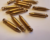 20 vintage solid raw brass bullet charm with nice weigh 17 mm long very cute