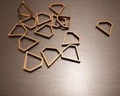 25 pieces of newly made cut raw brass thick tube outline charm in tiny diamond 9x9mm