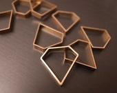 12 pieces of  cut raw brass thick tube outline charm in medium diamond shape 15x15x2 mm finding beads