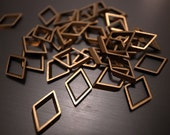 20 pieces of vintage old stock cut raw brass tube outline charm in rhombus geometric shape13x8mm small