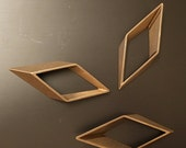 5 pieces of large Newly made thicker cut raw brass tube outline charm in rhombus geometric shape SMALLER 3d 65x25x6.5mm