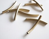 6 pieces of vintage cut raw brass long tube round shape curve bead cap 4x45 mm across