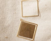 50 newly made raw brass stamping square outline die cut charm 18x18 x 0.5mm frame only