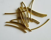 12 pieces of vintage cut raw brass long tube round shape curve bead cap 46x2 mm across thin