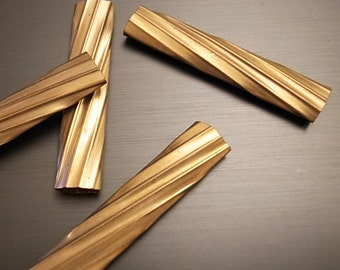 5 pieces of newly made cut raw brass straight tube with swirl texture pattern lines 40mm long