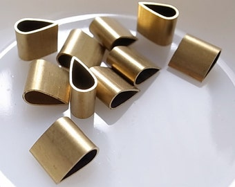 10 pieces of vintage old stock cut raw brass thick tube outline charm in teardrop  shape geometric art deco 3d